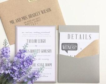 Modern Wedding Invitation   Grey Wedding Invite   SAMPLE INVITE