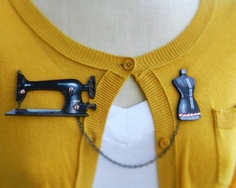 Antique Sewing Machine and Dress Form Sweater Guard Brooch Pin//Seamstress