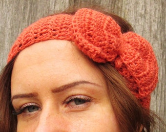 Headband, Crochet Headband Bun Earwarmer Head Wrap orange Hat Girly Romantic, orange headband