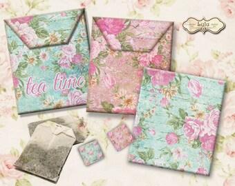 """Tea Bag Envelopes : """"Tea Time Shabby""""  Digital Collage Sheet,  Printables, Envelope Download, tea bag,  Shabby Chic - Tea Bag Holder"""