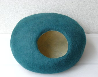 Felted Cat Cave/ Cocoon/ Cat House /  Stone and GIFT