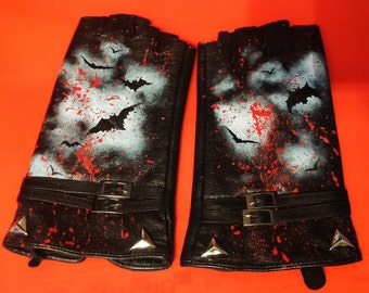 Lost Boys Inspired Vampire Punk Gloves. Hand Painted, One Of A Kind. Studded & Buckled.