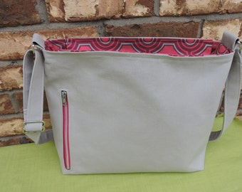 Grey Canvas Conceal Carry Handbag/Purse/Tote