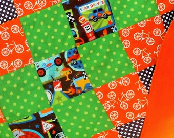 Sale - Handmade Flannel Race Cars Patchwork Crib Quilt with Fleece Backer - Crib Quilt  - Orange, Green, Blue and Brown
