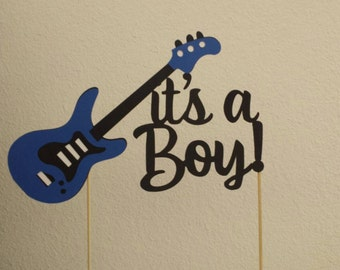 Boys Rock, Guitar, Rock On!, Band, Instrument, Music Cake Toppers Birthday or Baby Shower