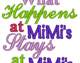 Instant Download: What Happens at MiMi's Stays at MiMi's Embroidery Design