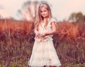 Flower Girl Dress, Rustic flower girl dress, Vintage Flower Girl Dress, ShabbyChic Flower Girl, Ivory lace dress, country flower girl dress