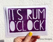 Its Rum O Clock Typography Linoprint Card (Green Red Purple) - Birthday / Congratulations / Thank You / Blank Card / 18th / 21st