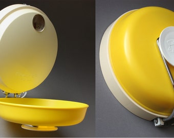 Kitchen scale / round housescale / wall scale / yellow white / Jupiter 5000 / Germany / 50s 60s / Mid-Century / vintage / utensils / gift