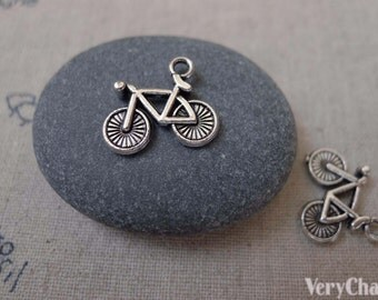 20 pcs of Antique Silver Bicycle Bike Charms  14x15mm A7449