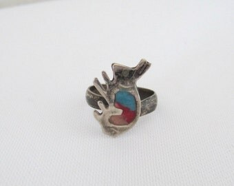 Vintage MEXICAN Sterling Silver Enamel Adjustable Ring Size 4