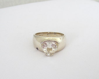 Vintage Sterling Silver White Topaz Ring Size 9