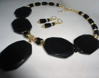 Flawless Black Hexagonal Flat Onyx Necklace Set*****.