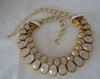 Faceted Briolette Yellow Goldtone Necklace*****.