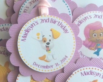 12 Personalized Bubble Guppies Party Tags, Party Supplies, Kids Personalized Birthday Party Supplies, Candy Buffet Tags