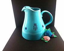 Cronin Pottery Pitcher. Blue Mid Century Pitcher. Shabby Chic Pitcher. Vintage Shower Decor. Vintage Wedding Gift. Collectible Pottery.
