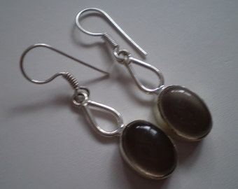 """Brown Smoky Quartz Glass 925 Sterling Silver Plated French Wire Dangle Earrings - 1 7/8"""""""
