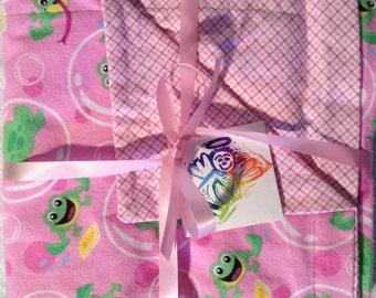 Flannel baby blanket, Extra large, handmade for girl