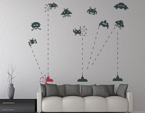 Items similar to wall decal space invaders vinyl decal for kids room teen room bedroom fun - Space invader wall stickers ...