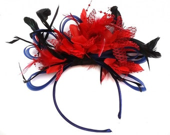 Navy Blue & Scarlet Red Feathers Fascinator On Headband