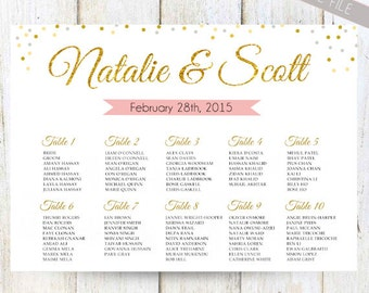 White Wedding Seating Chart Poster   DIGITAL Gold, Wedding Seating Chart  Sign   Printable