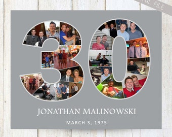DIGITAL 30th birthday gift for man - Personalized 30th birthday photo collage for him - Printable FILE!