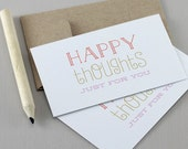 Happy Thoughts Mini Cards - Motivational Quote, Gift Tag, Encouragement Card, Typography Card, Mini Note Card, Thank You, Lunchbox Notes