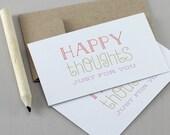 Glückliche Gedanken Mini Karten - Motivational zitieren, Geschenkkarte Tag, Ermutigung Card, Typografie, Mini-Note-Karte, vielen Dank, Lunchbox Notes