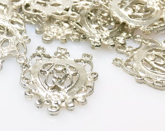 5 Pieces Silver Plated Pendant, Jewelry Making Supplies, Jewelry Findings
