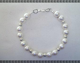 pearl bracelet, white bracelet, swarovski bracelet