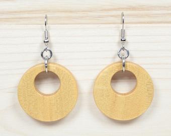 Wooden Hoop Earrings, Creole Earrings, Round Earrings, Yellow Earrings, Wooden Earrings, Wooden Drop Earrings, Guatambu Earrings, Handmade