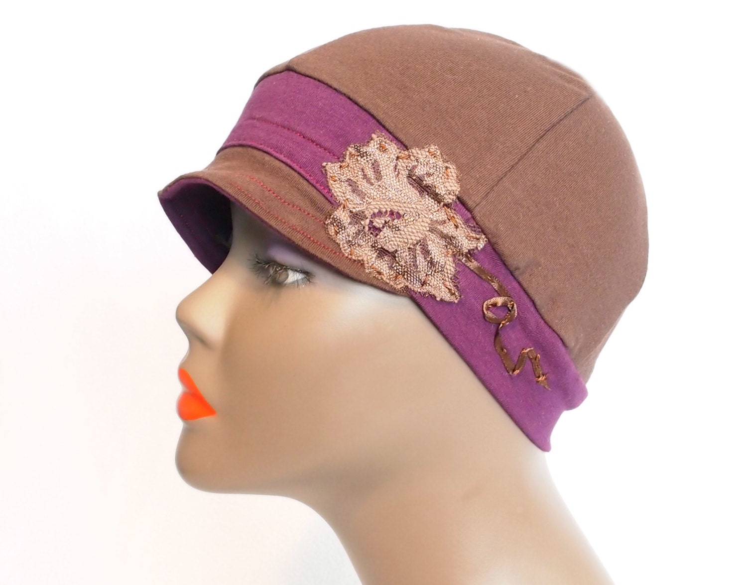 brown womens chemo hats cancer headcover hat by qbellezza