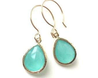Mint Aqua Chalcedony Aquamarine Glass Tear drop Gold Earrings, Bridal Earrrings, Wedding Jewelry, Bridesmaids Gifts