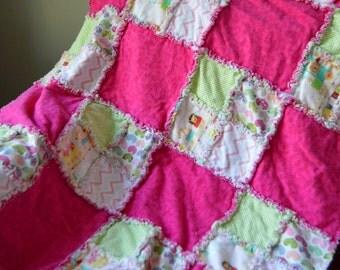 Baby Girl Blanket, Baby Girl Rag Quilt, Hospital take home quilt, handmade baby quilt, handmade baby blanket, Infant/newborn/infant blanket