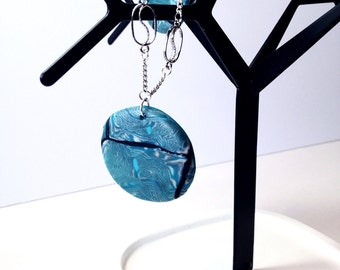 Beautiful hand made turquoise medallion in polymer clay on fine silver chain with matching earrings