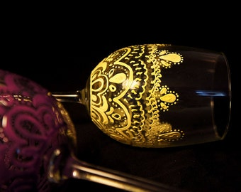 Hand painted stemmed wine glass