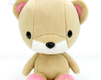 """Bellzi® Cute Bear Plush Stuffed Animal Toy Brown w/ """"Pink"""" Contrast Teddy Plushie - Teddi"""