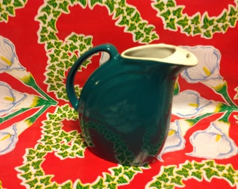 Vintage mid- century teal Hall China Nora water or juice pitcher
