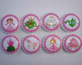 Set of 8 Kids Girls Princess Fairy Tale Dresser Drawer Knobs