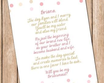 Will You Be My Bridesmaid **DIGITAL FILE**, Sister In Law Card, Bridesmaid Card **Digital File**