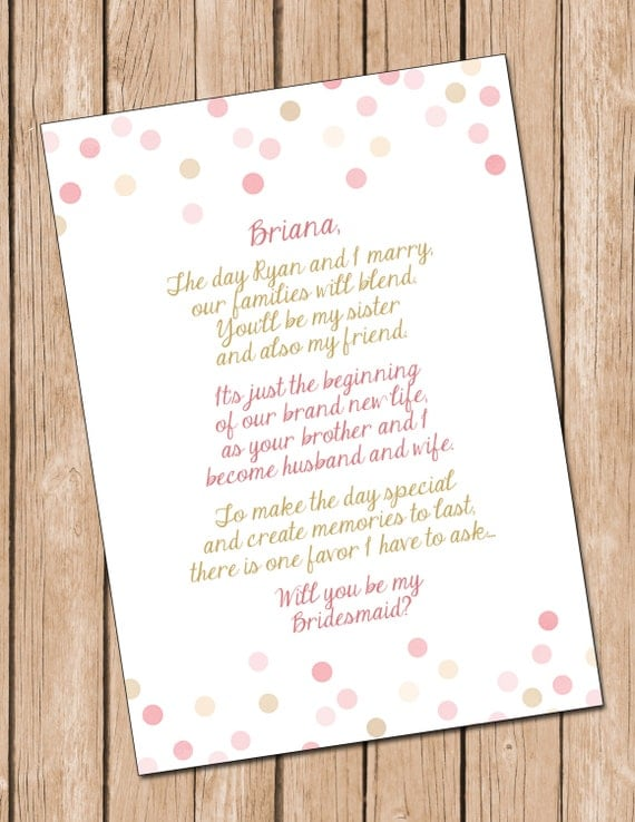 Wedding Gift Ideas For Future Sister In Law : ... DIGITAL FILE**, Sister In Law Card, Bridesmaid Card **Digital File