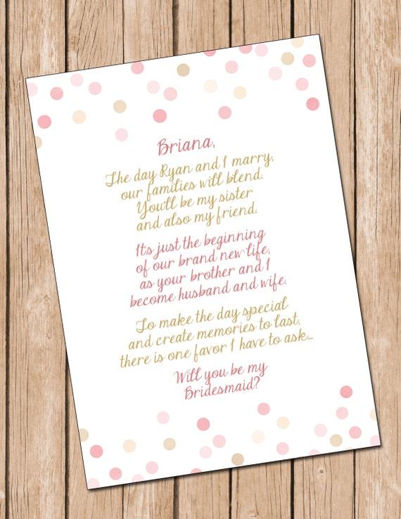 ... DIGITAL FILE**, Sister In Law Card, Bridesmaid Card **Digital File
