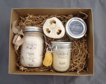 You Choose 3 Item Gift Box (1 Bath Salt, 1 Sugar Scrub, and 1 Mask or Candle)
