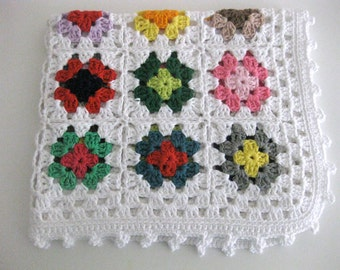Reduced Price!!!!!! Handmade baby boy girl white with multl coloured granny squares crochet cotton blanket