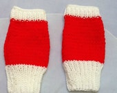 Red and White Gloves Ribbed Knit Gloves Red Knit Gloves White Knit Gloves Woolly Red Gloves Woolly White Gloves Red White Yarn Glove