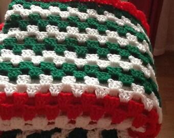 Crochet Sofa Throw, Sofa Afghan, Lap Blanket, Crocheted Blanket, Crocheted Throw, Red Green White,  Afghan Blanket, Afghan Throw