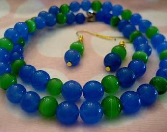 284-GO SEAHAWKS!!! Seattle Seahawks Necklace+Earrings, Seattle Seahawks Pendant Earrings, Sky Blue Sapphire Necklace, Green Opal Necklace