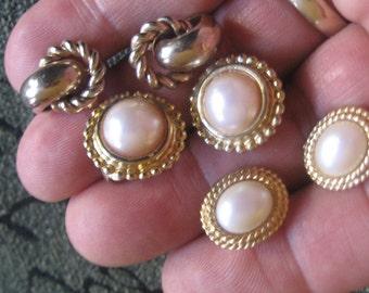 Vintage Trio Set of Earrings, Vintage Clip-on Earrings-Vintage Goldtone Earrings-Vintage Flaux Earrings, Clip-on Earrings