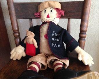 Handmade Folk Art Raggedy Andy Cloth Doll by Flora Mediate