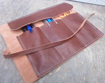 Leather Pencil Roll Case, Tool Roll, Roll Organizer, Brown/Burgundy, Pencil Holder, Roll Pencil Case, Free Personalized